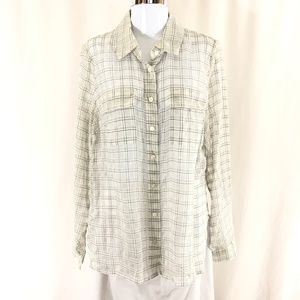 Worth Womens Top Button Down Shirt Sheer